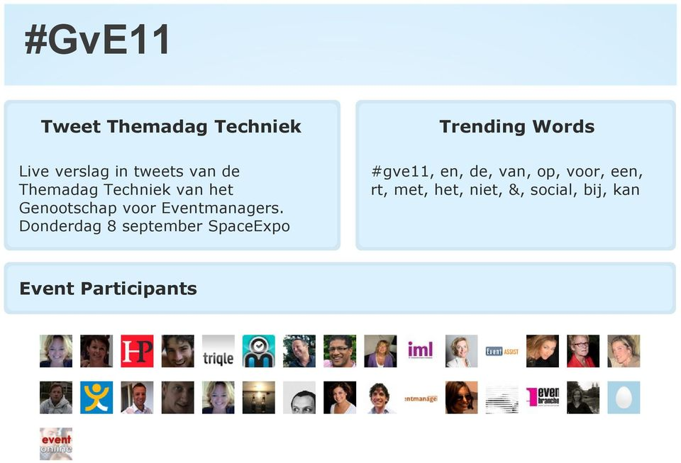 Donderdag 8 september SpaceExpo Trending Words #gve11, en, de,