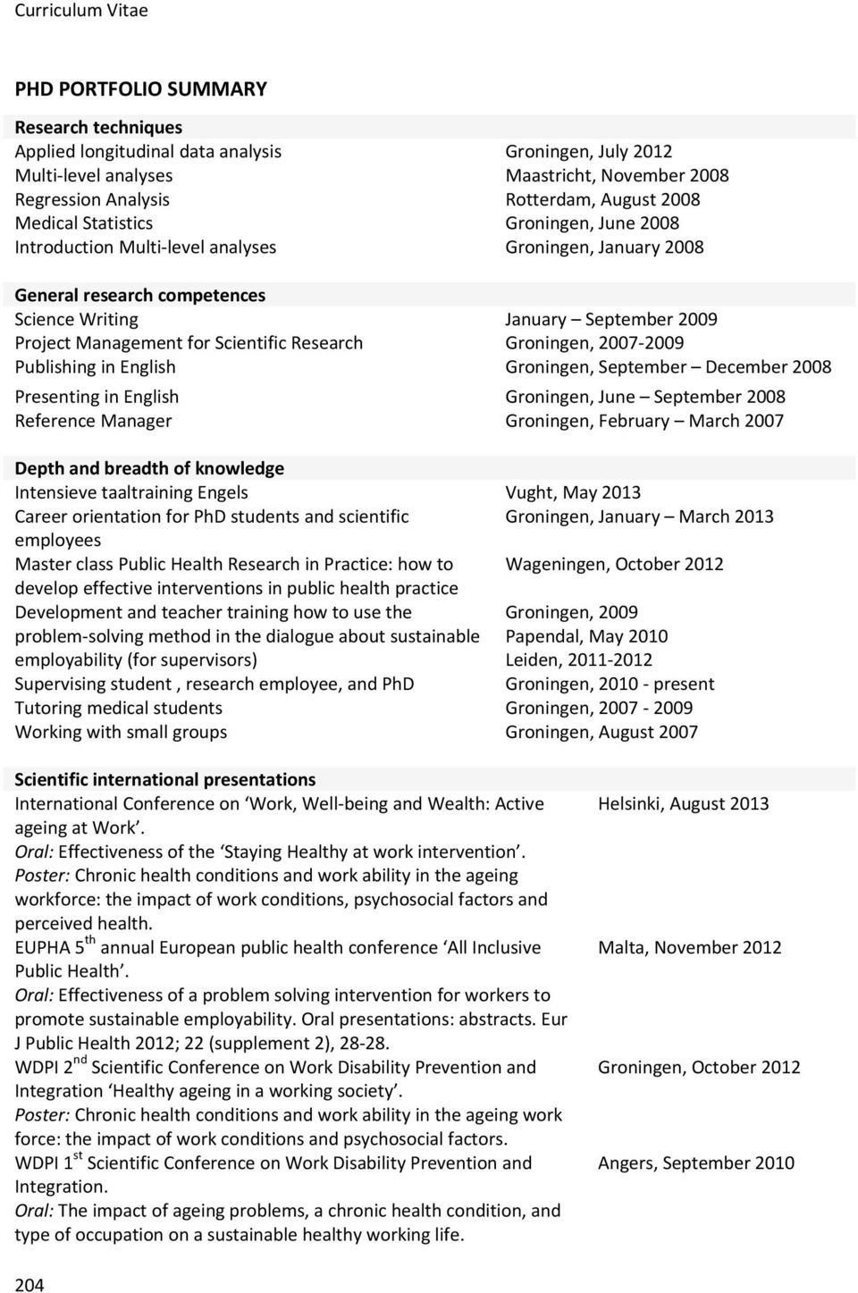 Research Groningen, 2007 2009 Publishing in English Groningen, September December 2008 Presenting in English Groningen, June September 2008 Reference Manager Groningen, February March 2007 Depth and