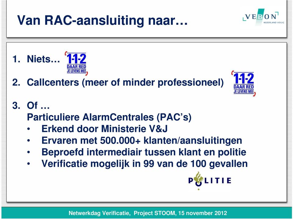 Of Particuliere AlarmCentrales (PAC s) Erkend door Ministerie V&J