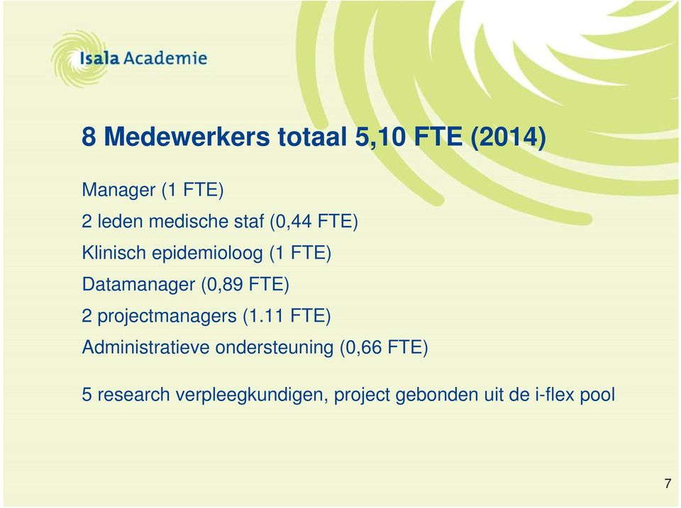 (0,89 FTE) 2 projectmanagers (1.
