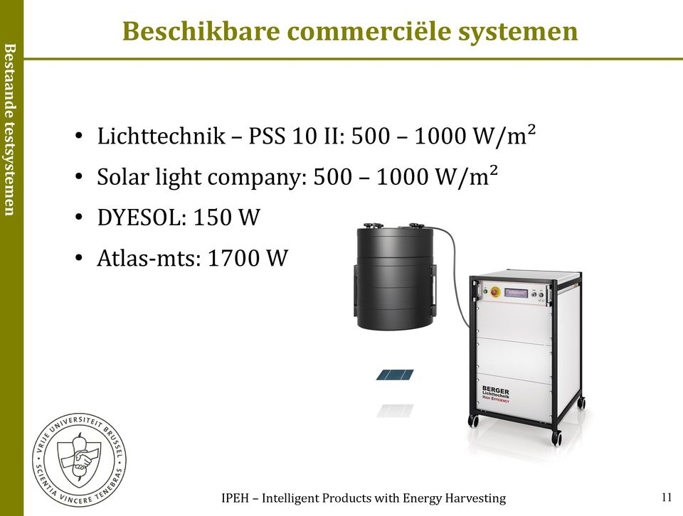 light company: 500 1000 W/m² DYESOL: 150 W