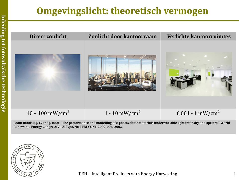 """The performance and modelling of 8 photovoltaic materials under variable light intensity and spectra."