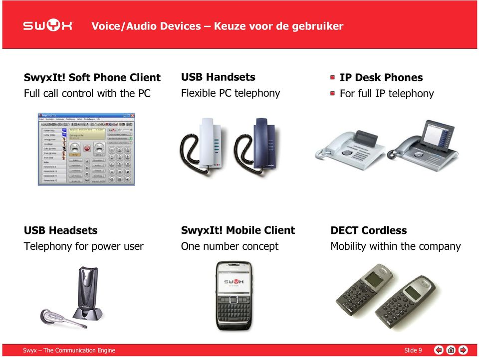 IP Desk Phones For full IP telephony USB Headsets Telephony for power user SwyxIt!