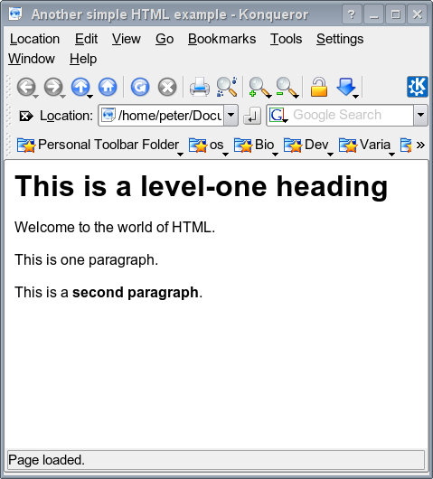 Html (hyper text markup language) <html> <head> <title> Another simple HTML example </title> </head> <body> <h1> This is a level-one heading </h1> Welcome to the world of HTML.