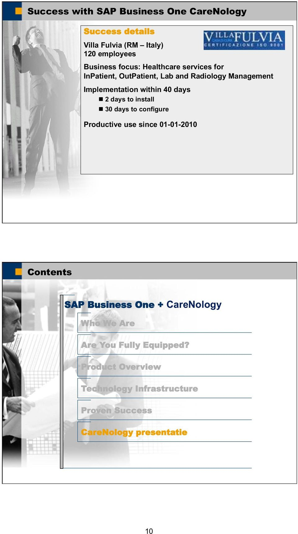 days to install 30 days to configure Productive use since 01-01-2010 Contents SAP Business One + CareNology Who
