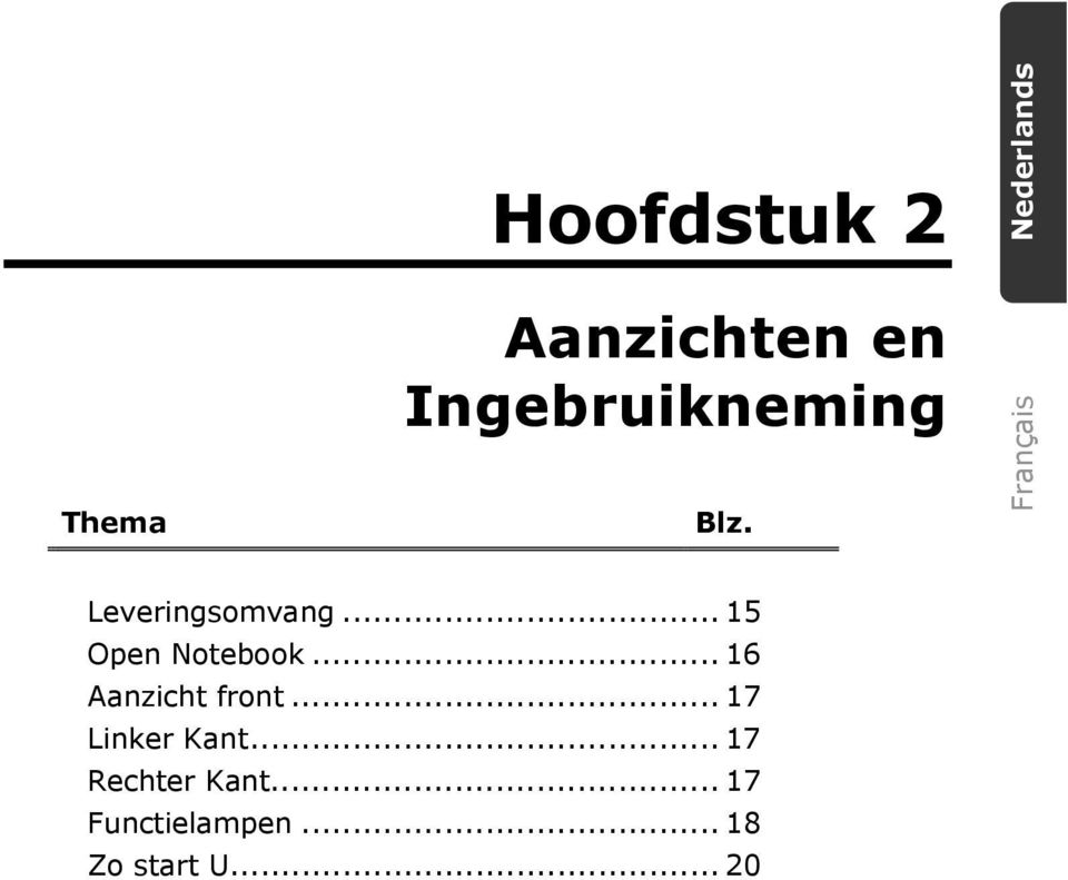 .. 15 Open Notebook... 16 Aanzicht front.