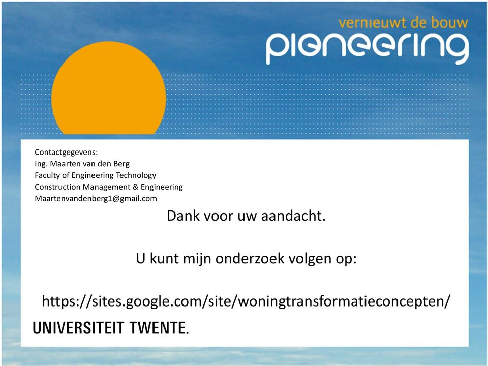 Construction Management & Engineering Maartenvandenberg1@gmail.