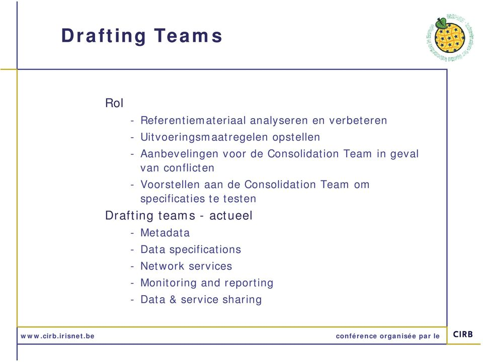 aan de Consolidation Team om specificaties te testen Drafting teams - actueel - Metadata -