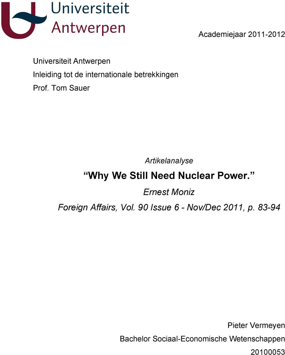 Tom Sauer Artikelanalyse Why We Still Need Nuclear Power.