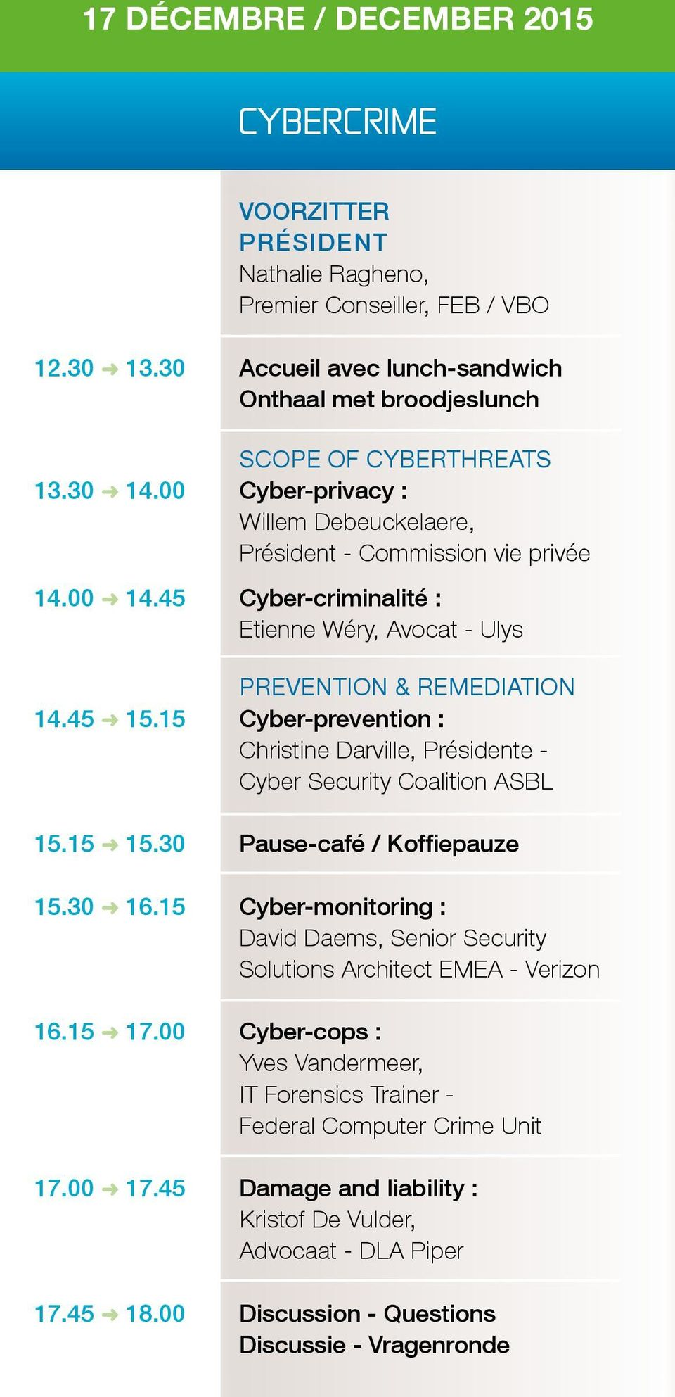 15 Cyber-prevention : Christine Darville, Présidente - Cyber Security Coalition ASBL 15.15 15.30 Pause-café / Koffiepauze 15.30 16.