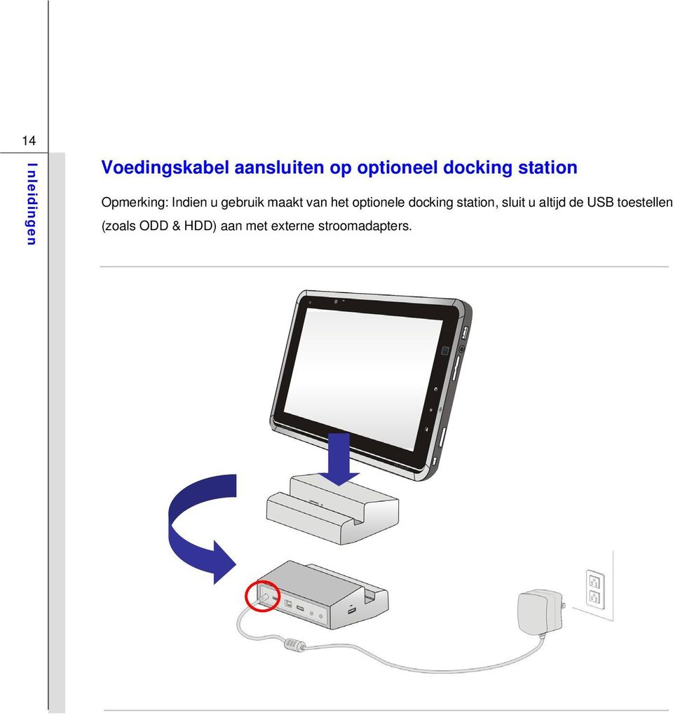 optionele docking station, sluit u altijd de USB