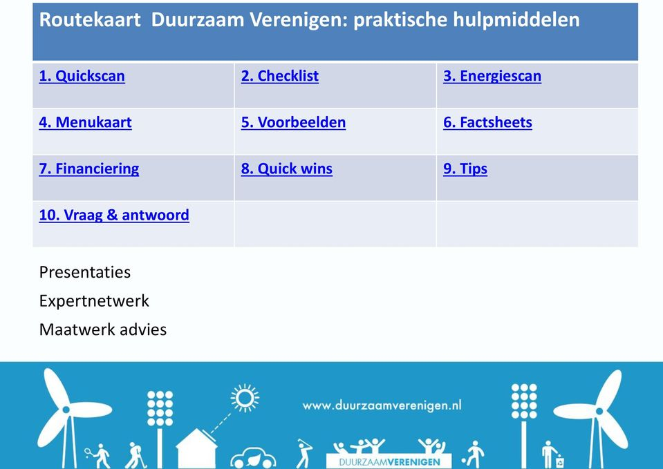 Voorbeelden 6. Factsheets 7. Financiering 8. Quick wins 9.
