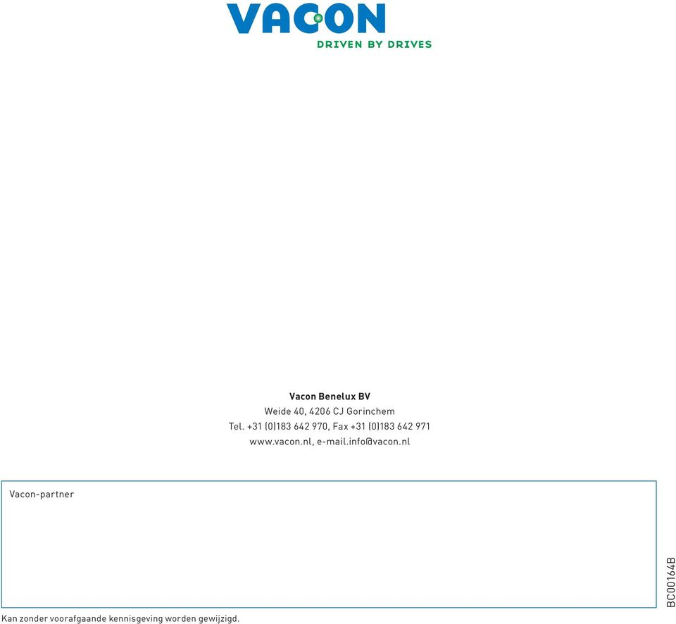 vacon.nl, e-mail.info@vacon.
