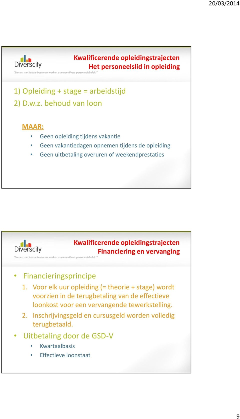 weekendprestaties Financiering en vervanging Financieringsprincipe 1.