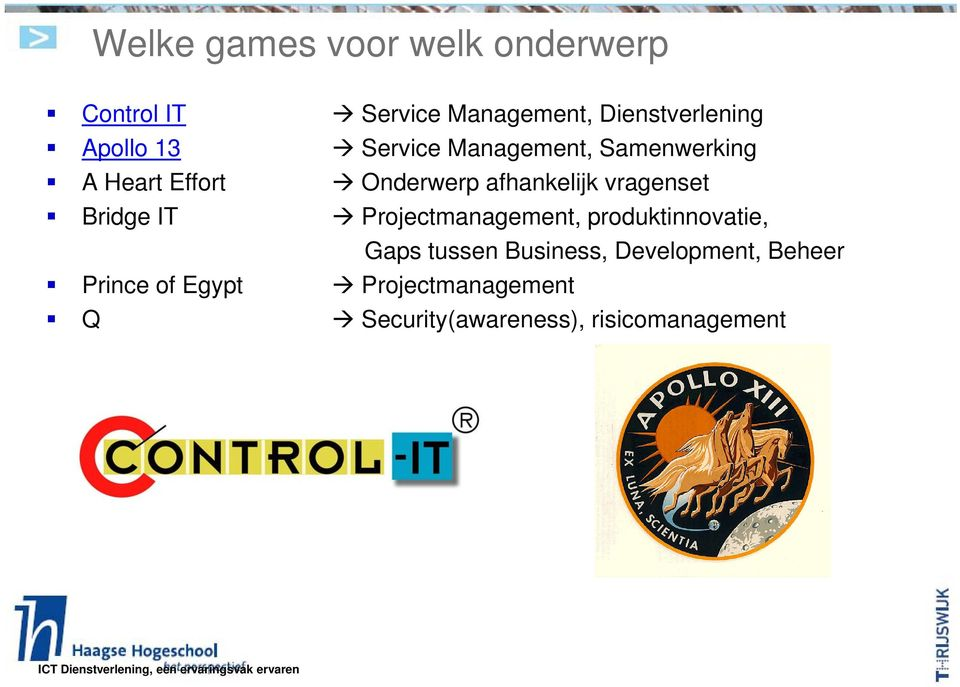 vragenset Bridge IT Projectmanagement, produktinnovatie, Gaps tussen Business,