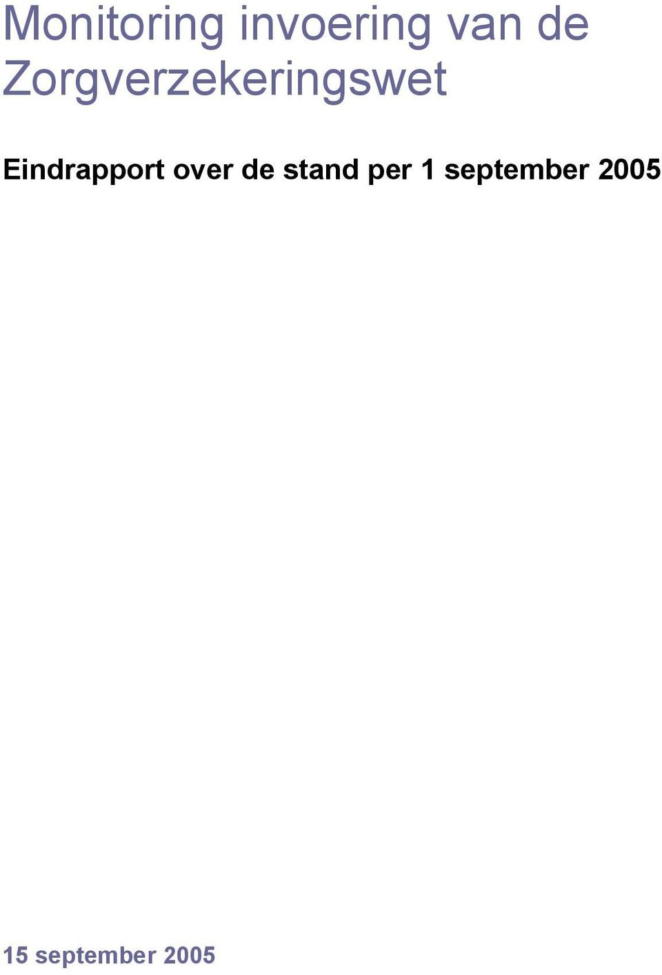 Eindrapport over de stand
