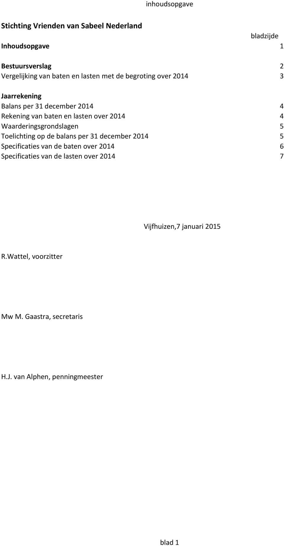 Toelichting op de balans per 31 december 2014 5 Specificaties van de baten over 2014 6 Specificaties van de lasten