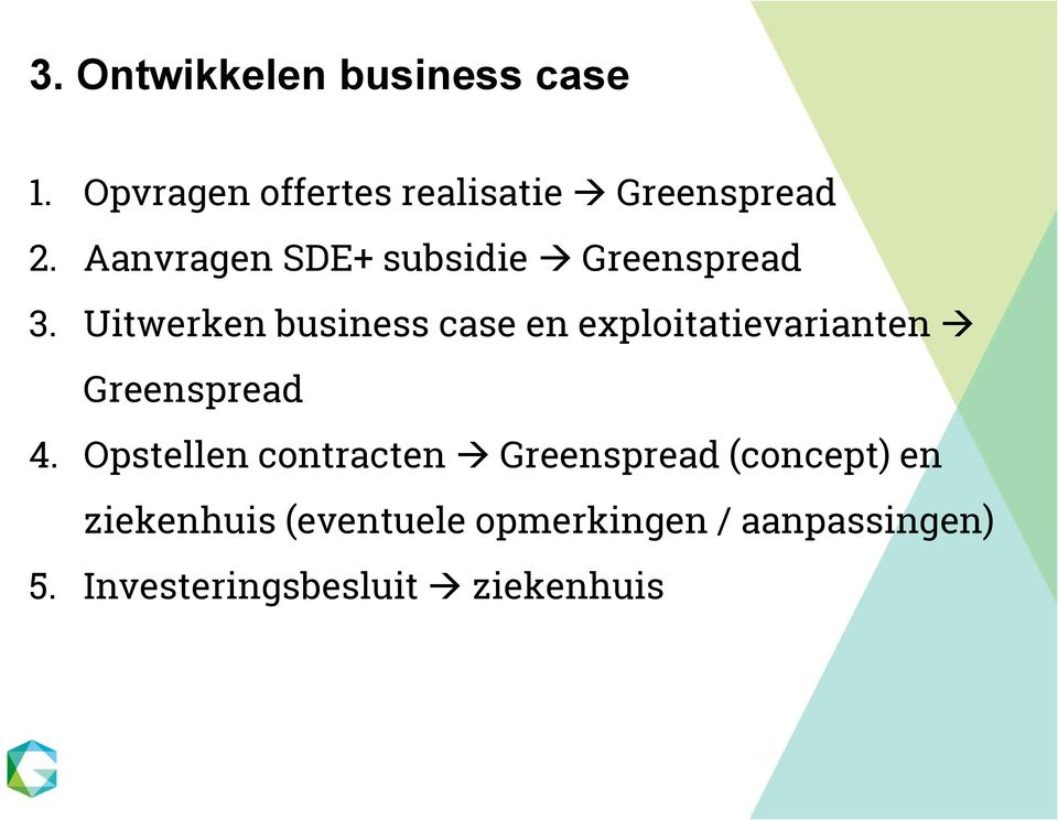 Uitwerken business case en exploitatievarianten Greenspread 4.
