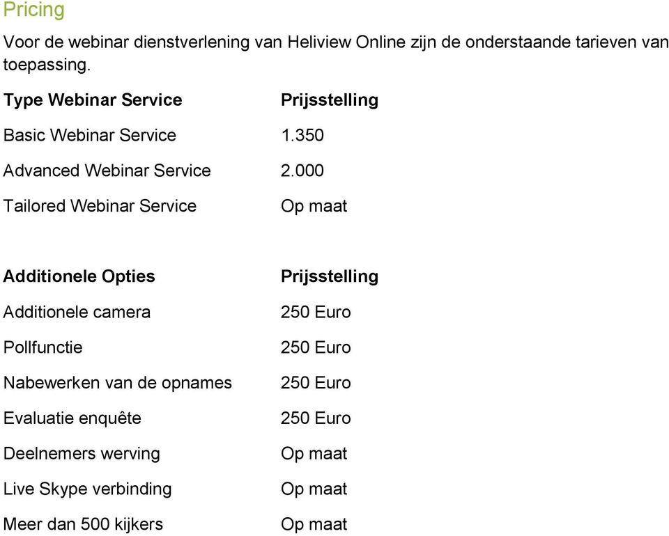 000 Tailored Webinar Service Op maat Additionele Opties Additionele camera Pollfunctie Nabewerken van de opnames