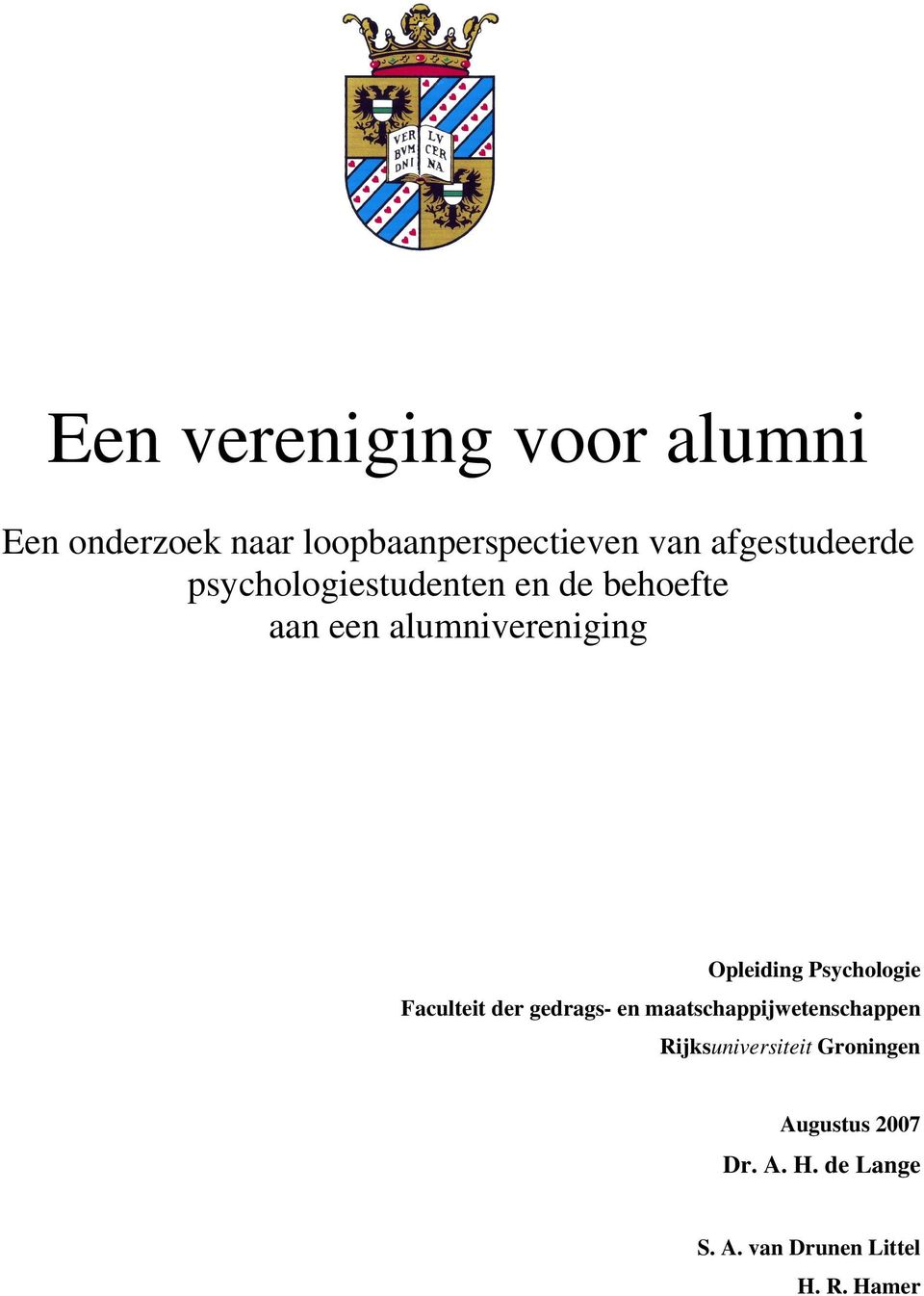 alumnivereniging Opleiding Psychologie Faculteit der gedrags- en