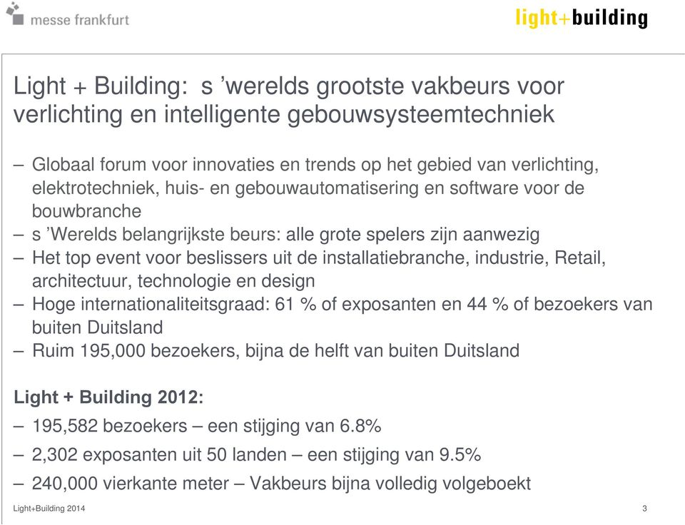 Retail, architectuur, technologie en design Hoge internationaliteitsgraad: 61 % of exposanten en 44 % of bezoekers van buiten Duitsland Ruim 195,000 bezoekers, bijna de helft van buiten