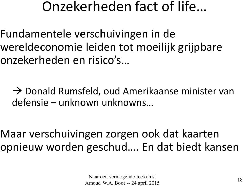 Donald Rumsfeld, oud Amerikaanse minister van defensie unknown unknowns