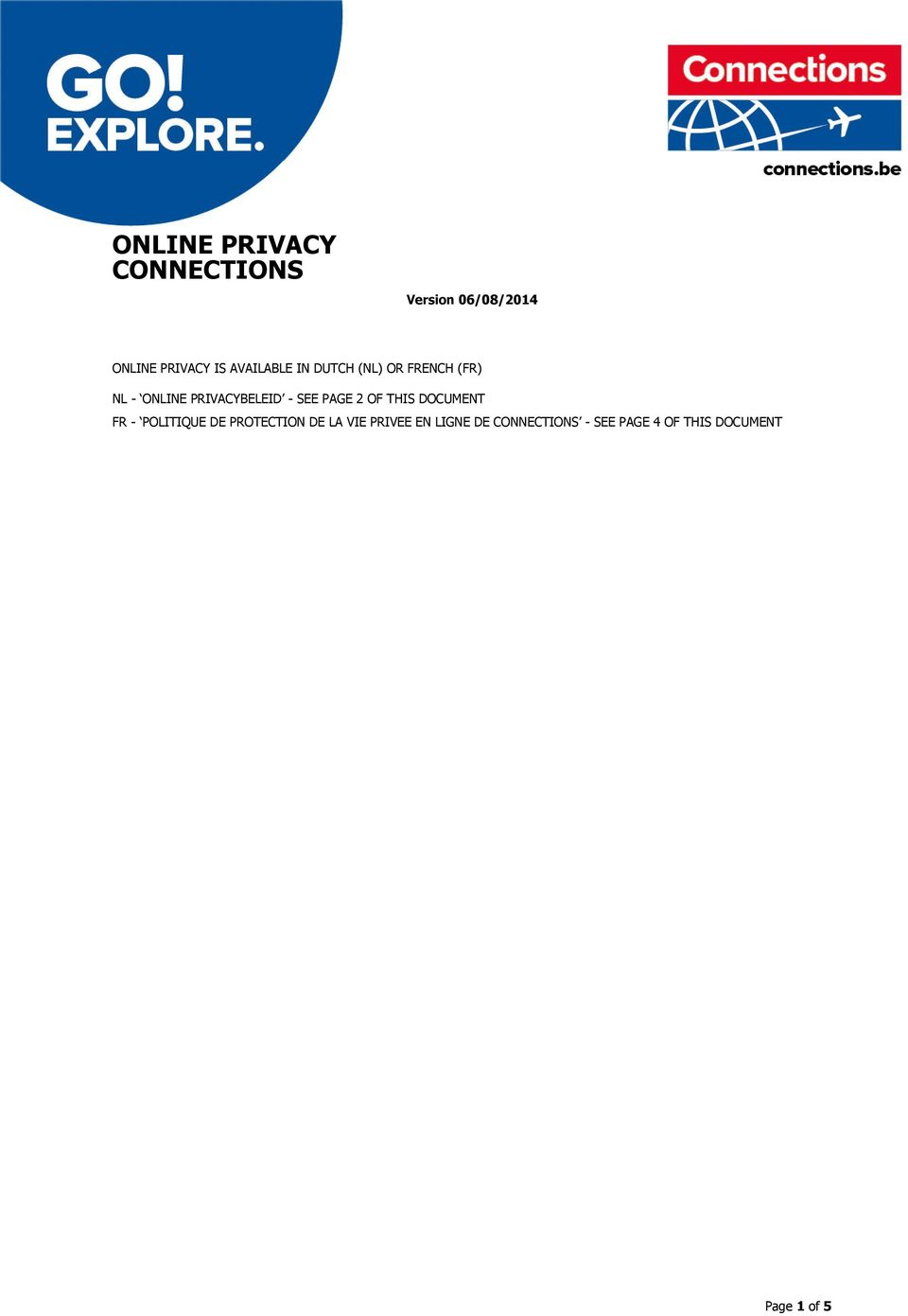 PAGE 2 OF THIS DOCUMENT FR - POLITIQUE DE PROTECTION DE LA