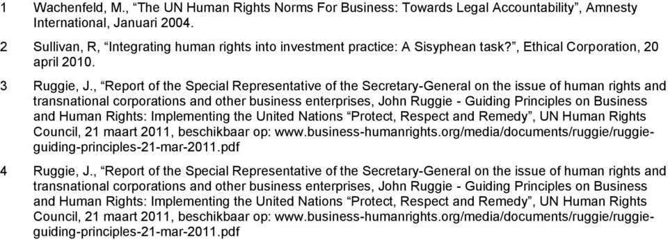 , Report of the Special Representative of the Secretary-General on the issue of human rights and transnational corporations and other business enterprises, John Ruggie - Guiding Principles on