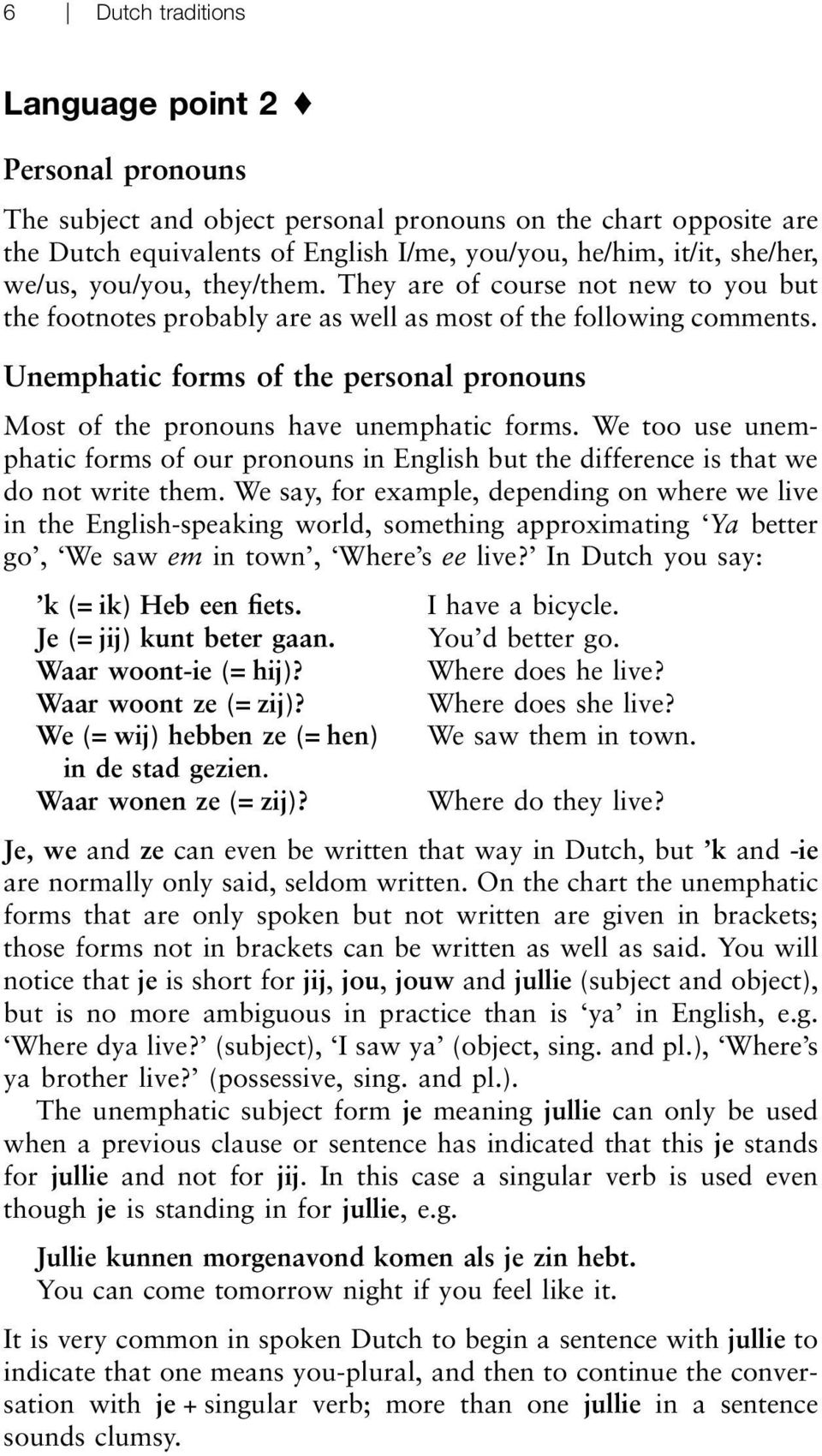 Unemphatic forms of the personal pronouns Most of the pronouns have unemphatic forms. We too use unemphatic forms of our pronouns in English but the difference is that we do not write them.