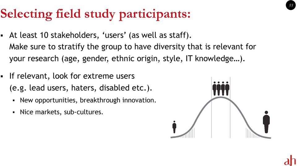 gender, ethnic origin, style, IT knowledge ). If relevant, look for extreme users (e.g. lead users, haters, disabled etc.