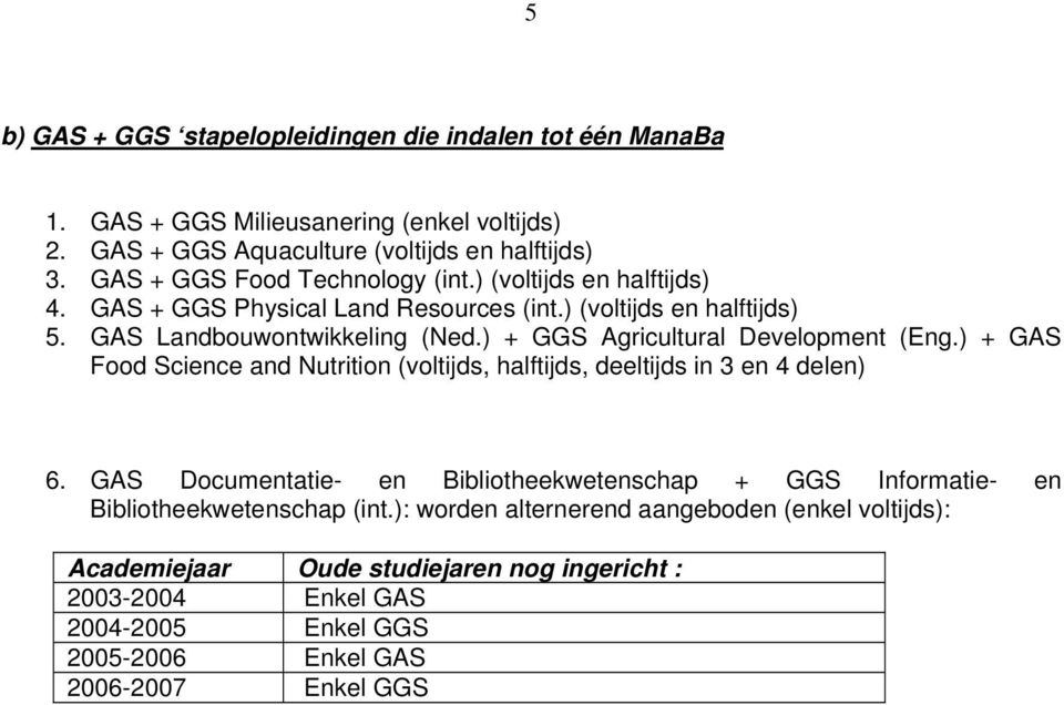 ) + GGS Agricultural Development (Eng.) + GAS Food Science and Nutrition (voltijds, halftijds, deeltijds in 3 en 4 delen) 6.