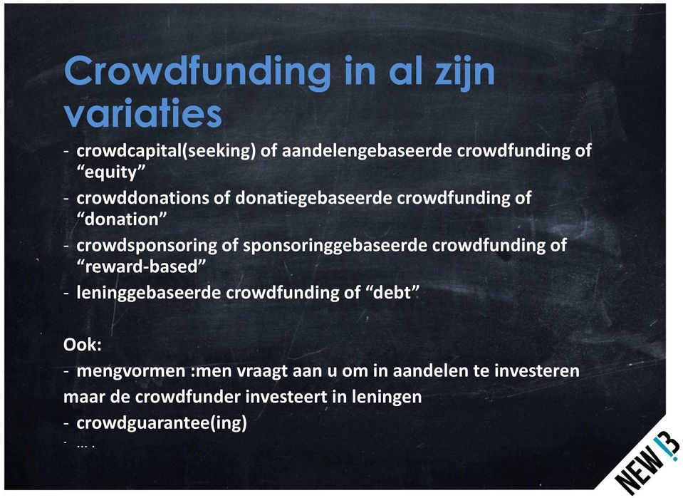 sponsoringgebaseerde crowdfunding of reward-based - leninggebaseerde crowdfunding of debt Ook: -