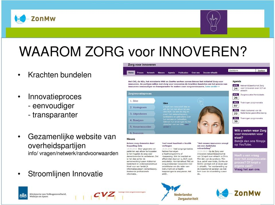 process More transparant innovation process Joint website of government institutes Gezamenlijke
