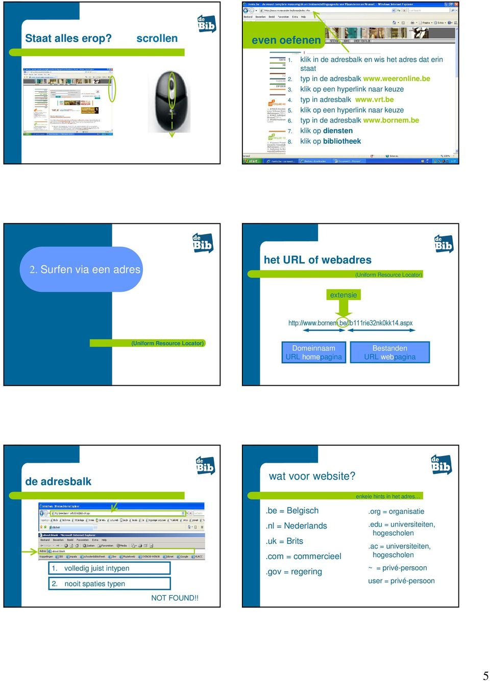 Surfen via een adres of URL het URL of webadres (Uniform Resource Locator) extensie http://www.bornem.be/fb111rie32nk0kk14.