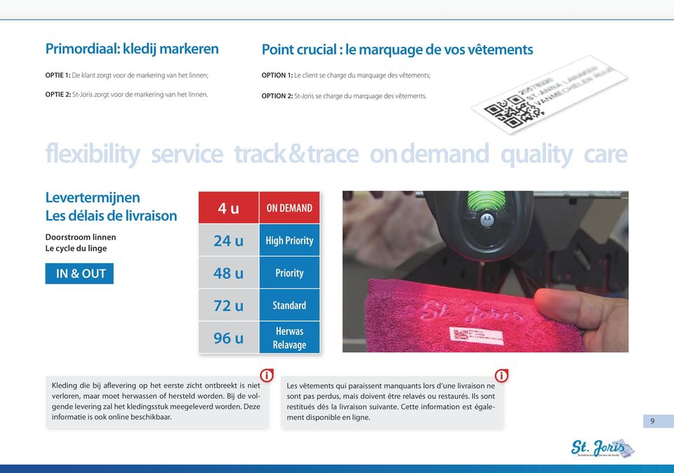 flexibility service track & trace on demand quality care Levertermijnen Les délais de livraison Doorstroom linnen Le cycle du linge IN & OUT 4 u ON DEMAND 24 u High Priority 48 u Priority 72 u