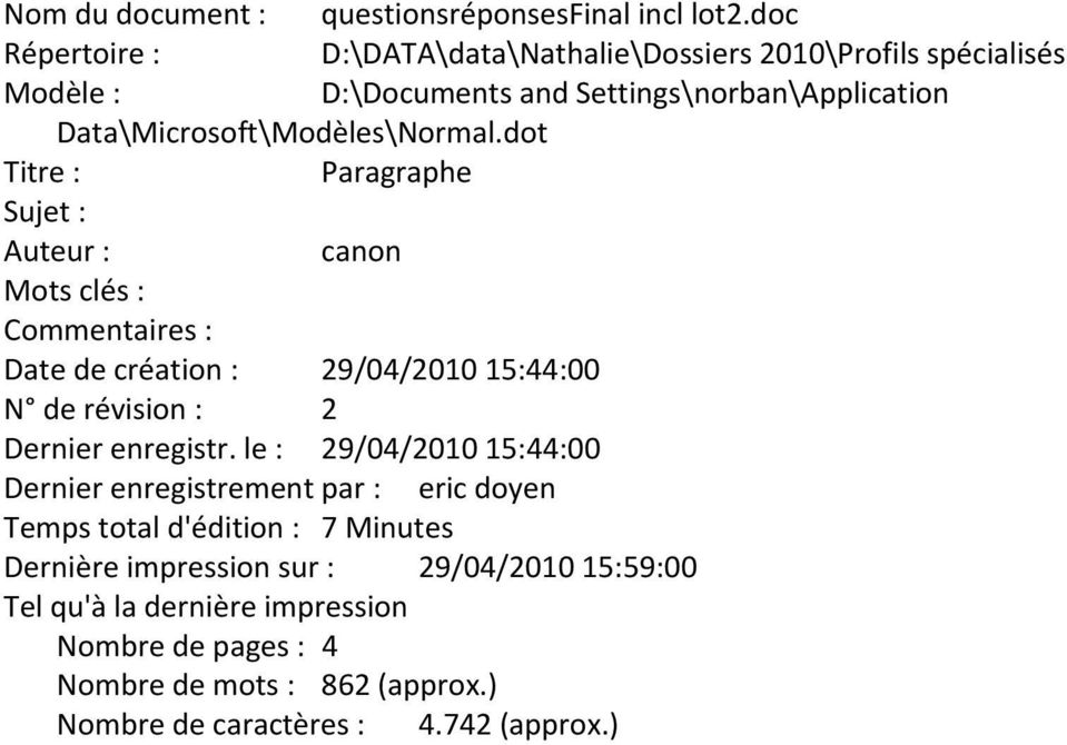 Data\Microsoft\Modèles\Normal.