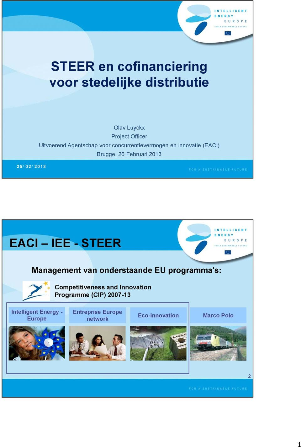 EACI IEE - STEER Management van onderstaande EU programma's: Competitiveness and Innovation