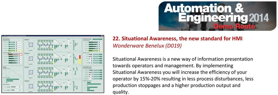 By implementing Situational Awareness you will increase the efficiency of your operator by