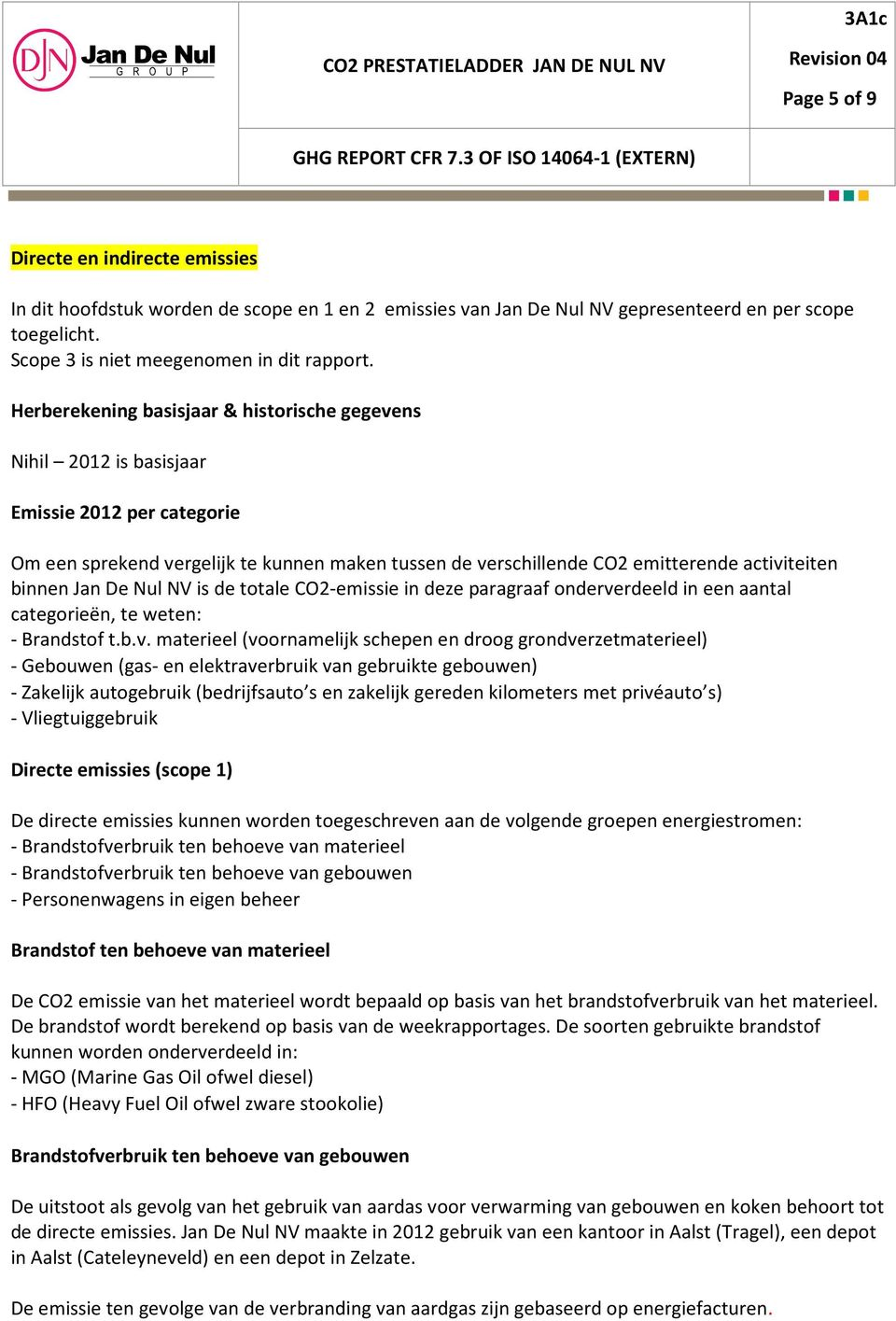 Jan De Nul NV is de totale CO2 emissie in deze paragraaf onderve