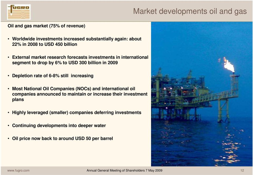 National Oil Companies (NOCs) and international oil companies announced to maintain or increase their investment plans Highly leveraged (smaller) companies