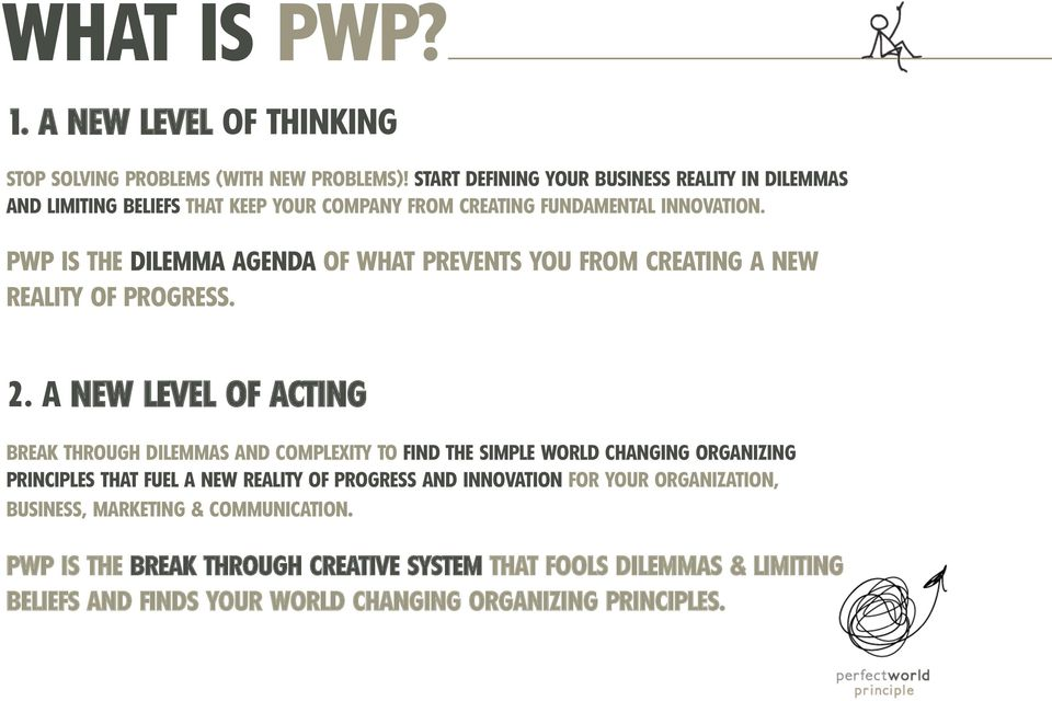 PWP IS THE DILEMMA AGENDA OF WHAT PREVENTS YOU FROM CREATING A NEW REALITY OF PROGRESS. 2.