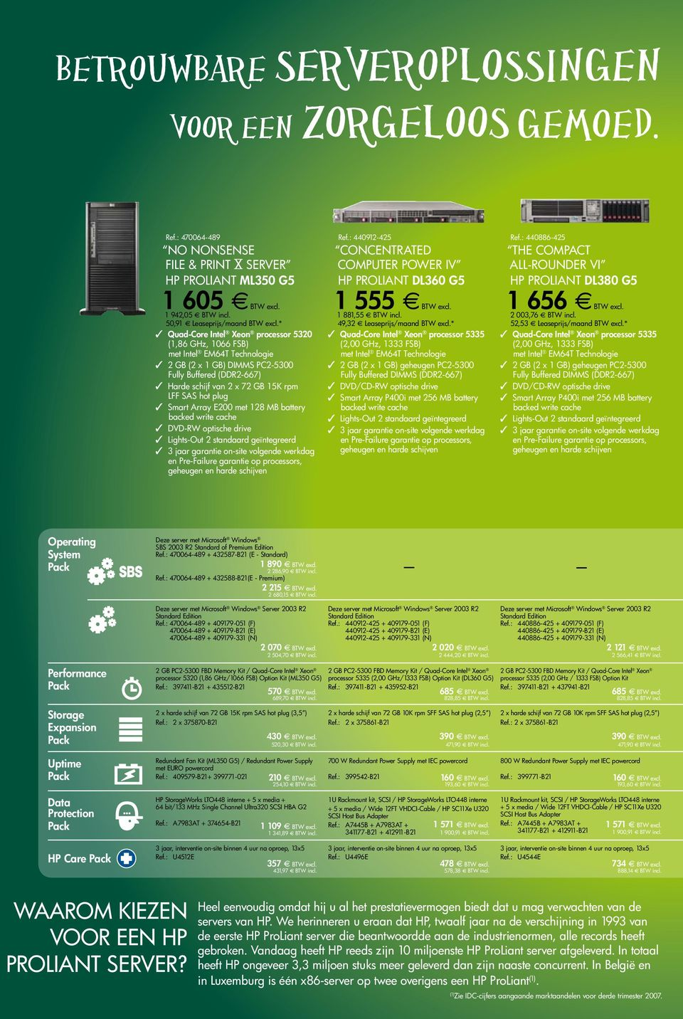 Smart Array E200 met 128 MB battery backed write cache DVD-RW optische drive Lights-Out 2 standaard geïntegreerd 3 jaar garantie on-site volgende werkdag en Pre-Failure garantie op processors,