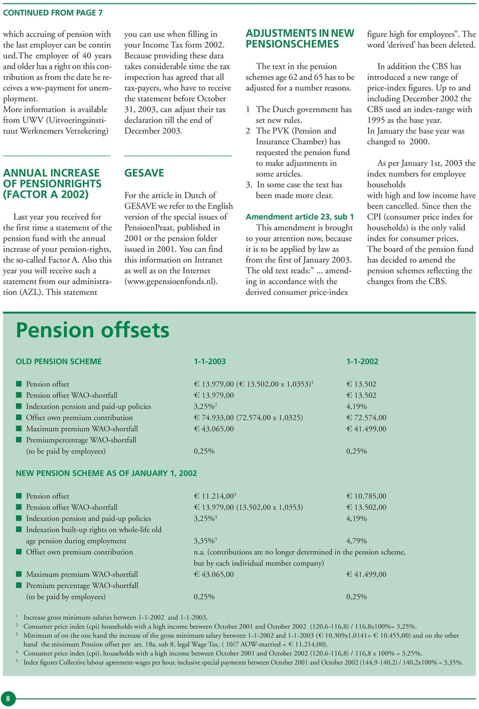 More information is available from UWV (Uitvoeringsinstituut Werknemers Verzekering) ANNUAL INCREASE OF PENSIONRIGHTS (FACTOR A 2002) Last year you received for the first time a statement of the