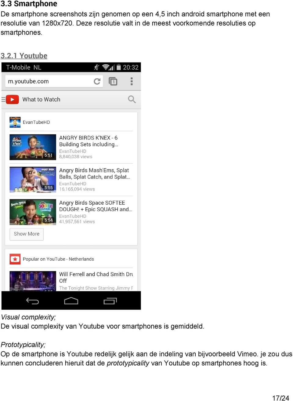 1 Youtube Visual complexity; De visual complexity van Youtube voor smartphones is gemiddeld.