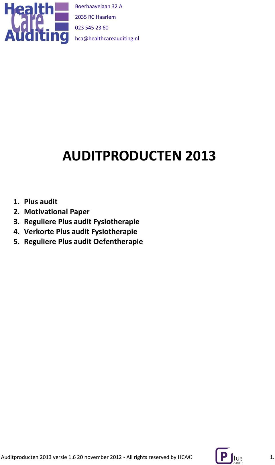 Verkorte Plus audit Fysiotherapie 5.