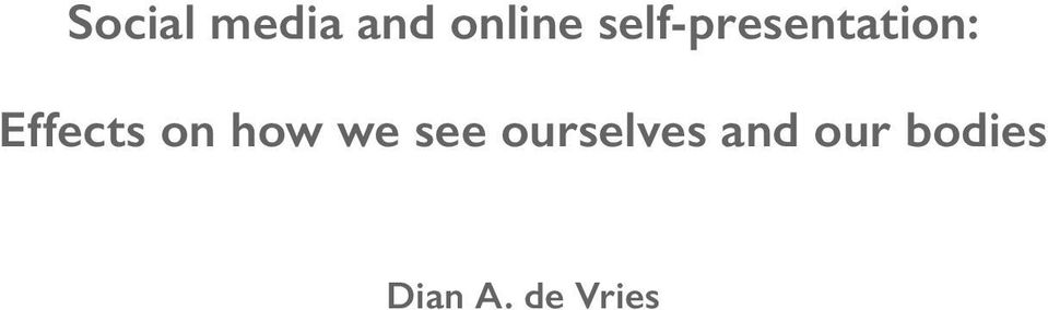 on how we see ourselves