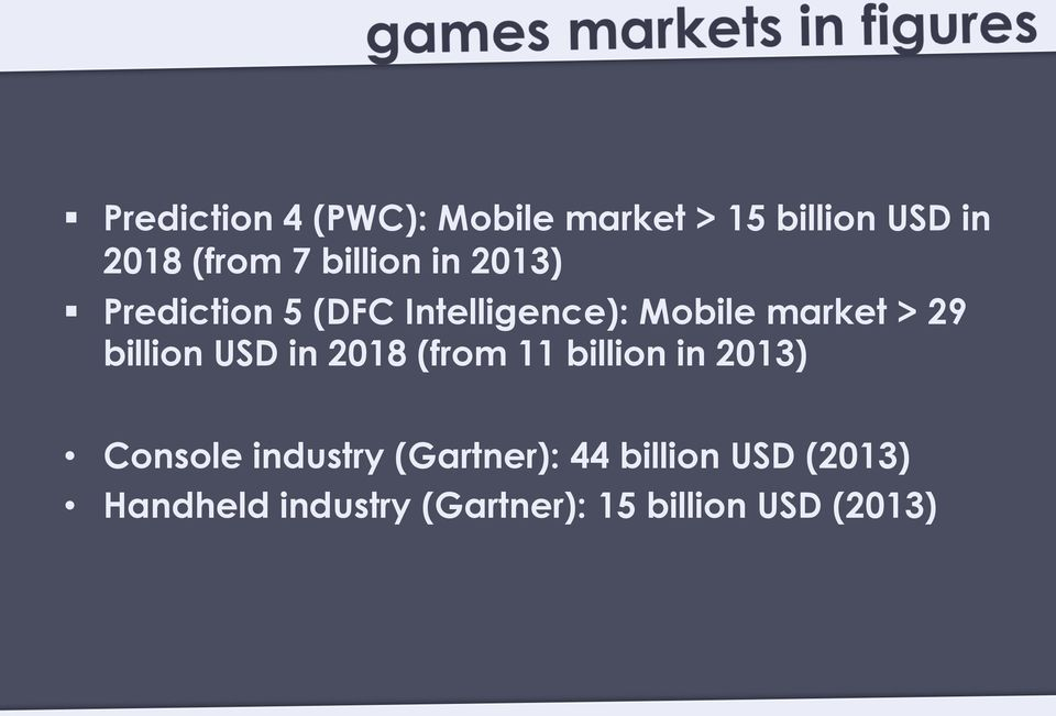 billion USD in 2018 (from 11 billion in 2013) Console industry