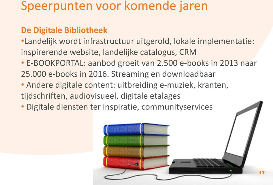500 e-books in 2013 naar 25.000 e-books in 2016.