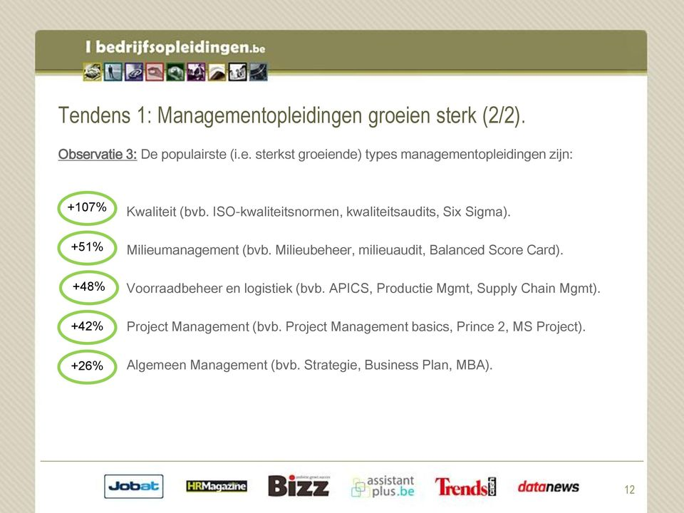 Voorraadbeheer en logistiek (bvb. APICS, Productie Mgmt, Supply Chain Mgmt). Project Management (bvb.
