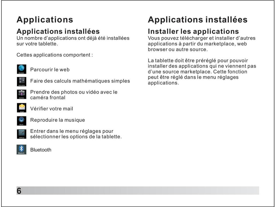 applications Vous pouvez télécharger et installer d autres applications à partir du marketplace, web browser ou autre source.
